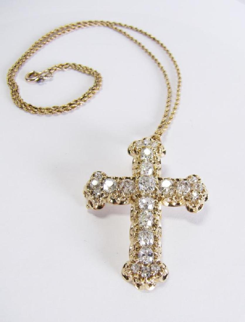 Antique 14K 5CT Diamond Cross Pin/Pendant