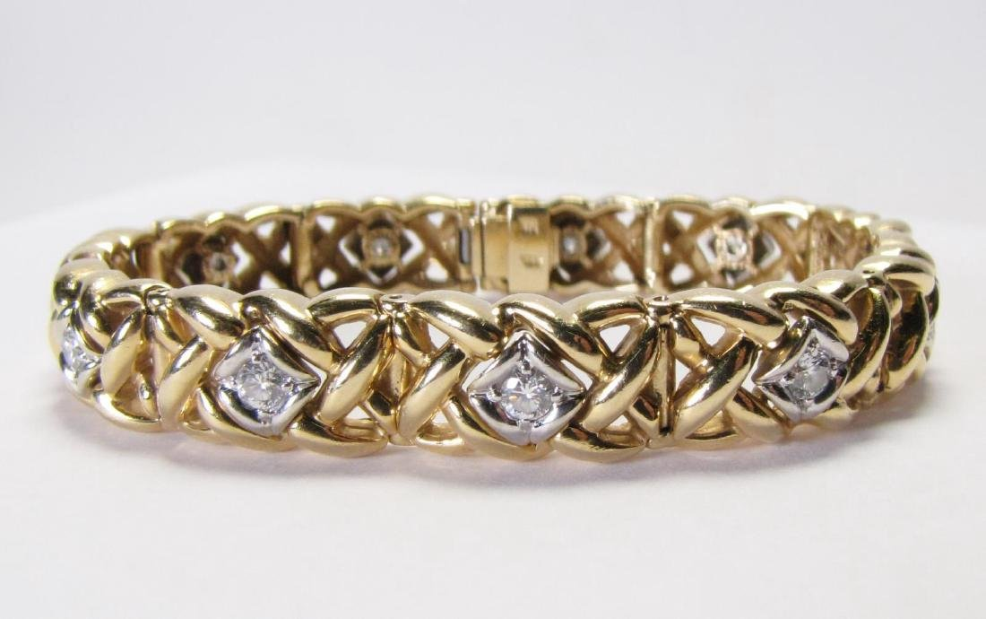 14K Yellow Gold Weave Diamond Bracelet