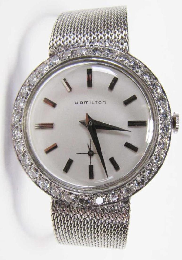 14K White Gold Gent's Hamilton Diamond Watch