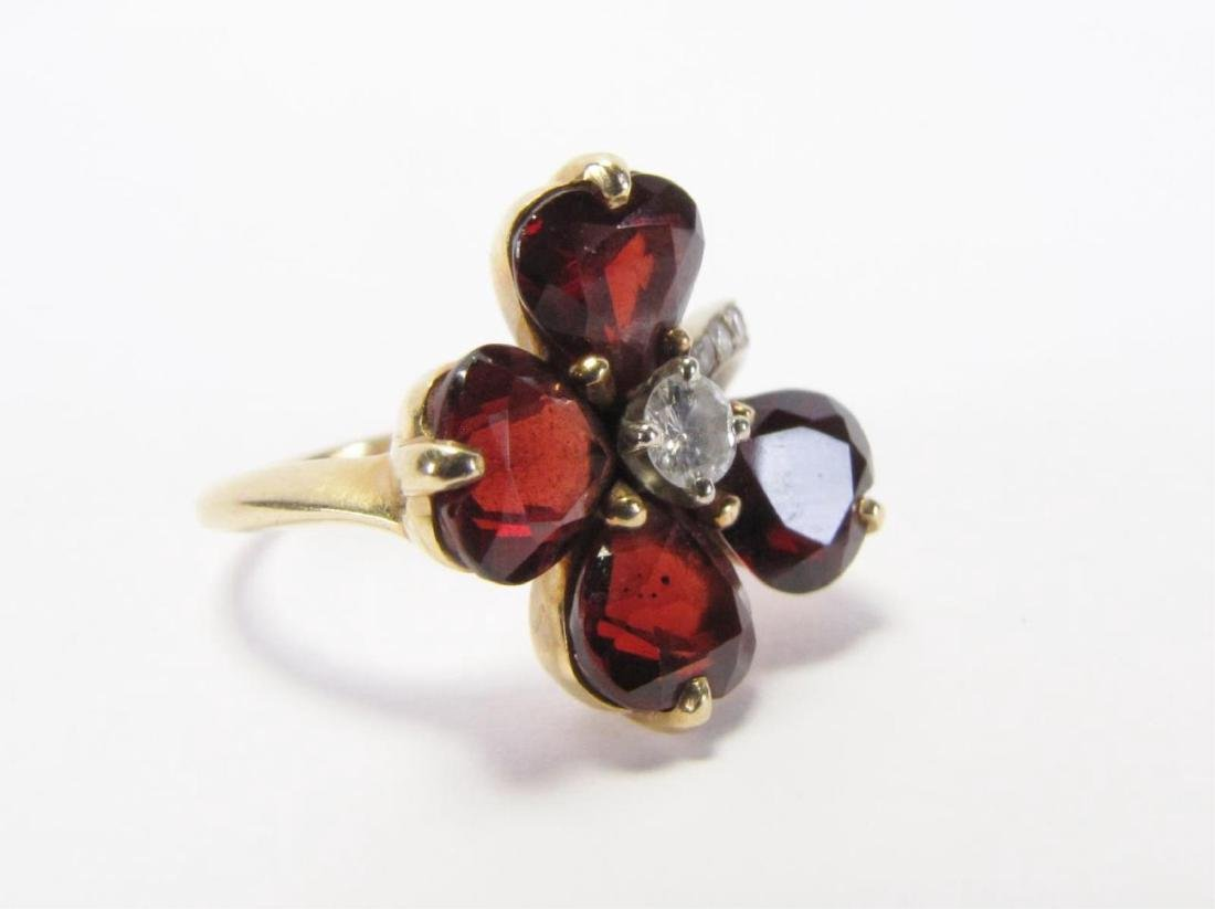 14K Yellow Gold Garnet, Diamond Flower Ring