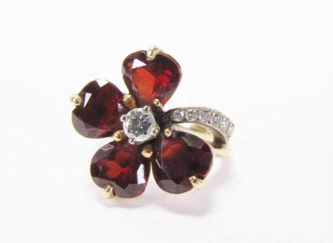 14K Yellow Gold Garnet, Diamond Flower Ring - 3