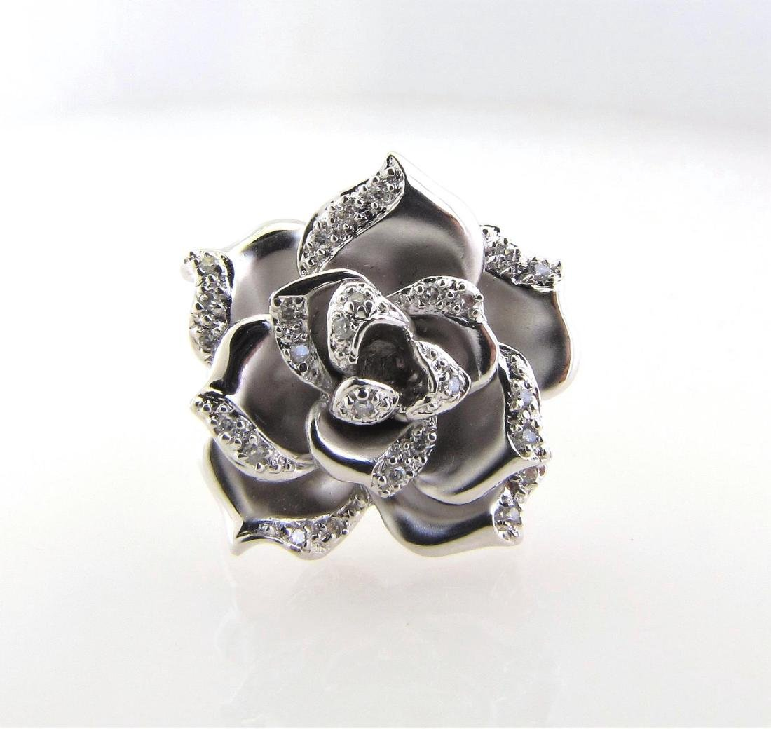 14K White Gold Flower Petal Diamond Ring