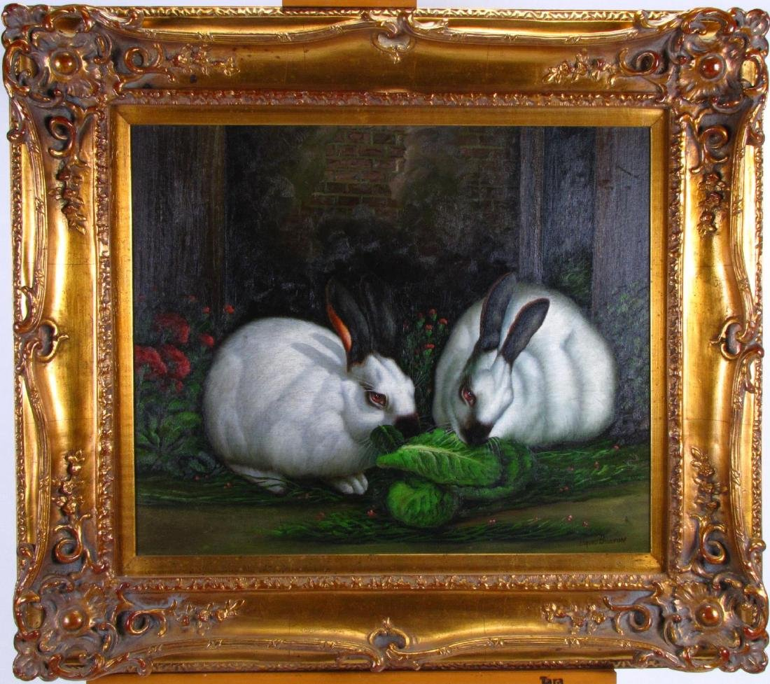 Signed Decorator Oil Painting, Rabbits