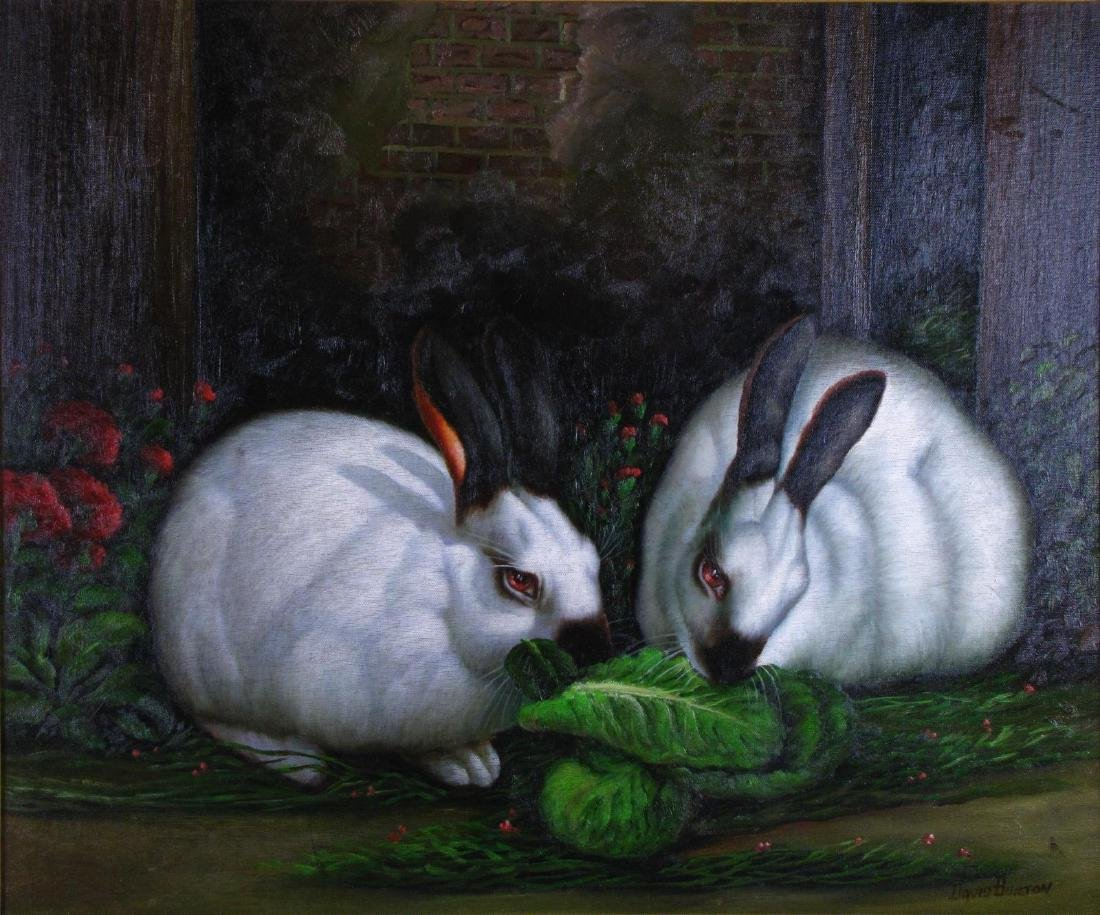 Signed Decorator Oil Painting, Rabbits - 2