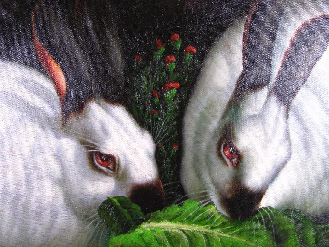 Signed Decorator Oil Painting, Rabbits - 3