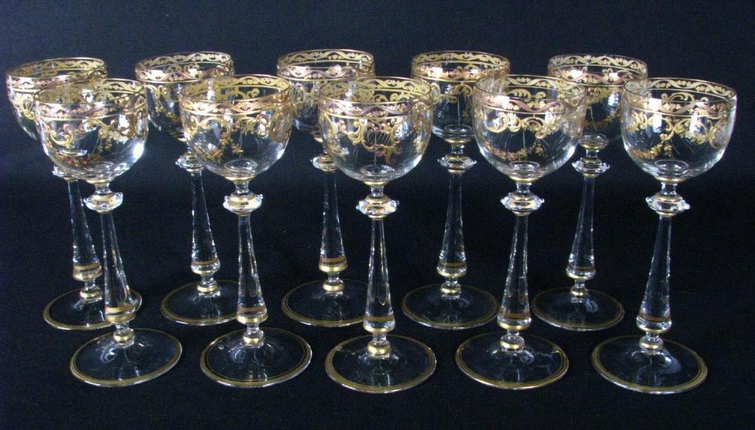 Set of Enameled Crystal Stemware
