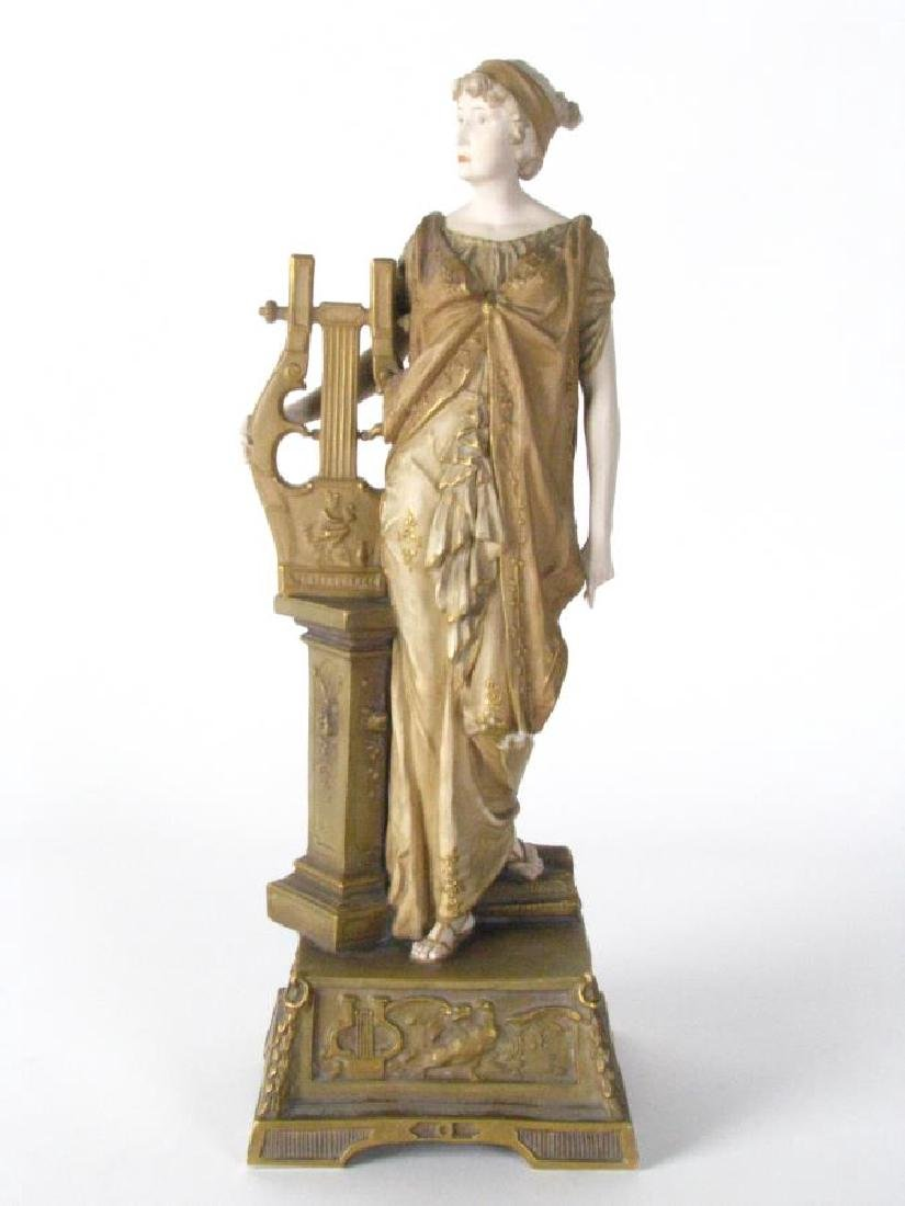 Ernst Wahliss Amphora Porcelain Woman with Harp