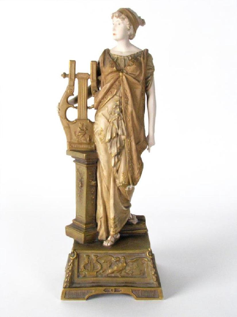 Ernst Wahliss Amphora Porcelain Woman with Harp - 2