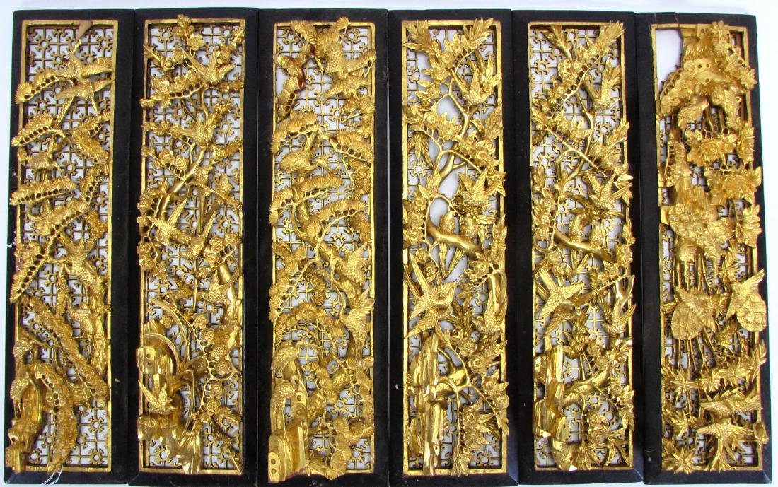 Group of Six Balinese Decorative Panels
