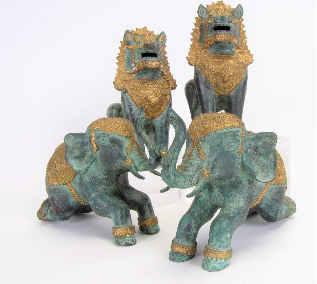 Thai Bronze Elephant and Temple Lion Figures