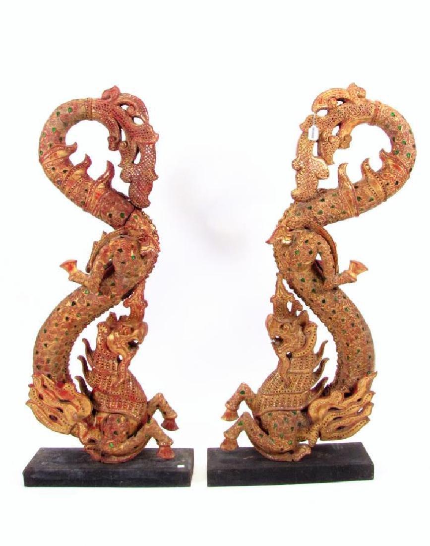 Pair of Balinese Dragon Carvings