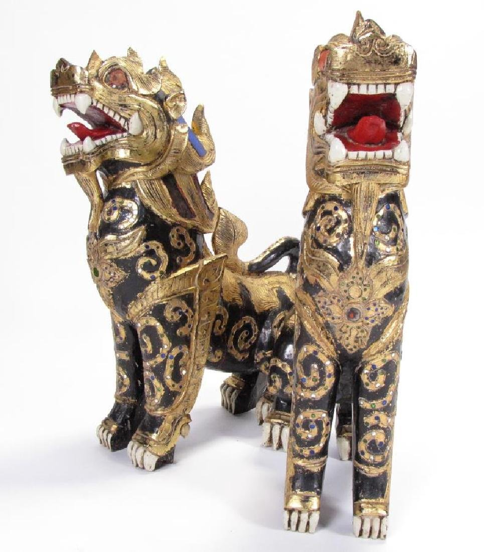 Pair of Balinese Carved Temple Lions