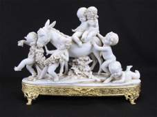 Bisque Porcelain Figural Grouping Putti and Mule