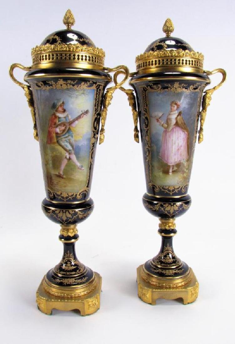 Pair of Cobalt Sevres Lidded Vases