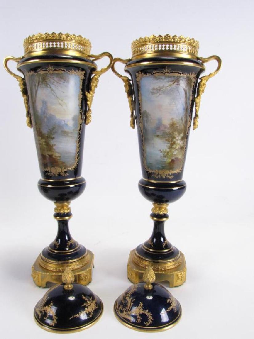 Pair of Cobalt Sevres Lidded Vases - 2