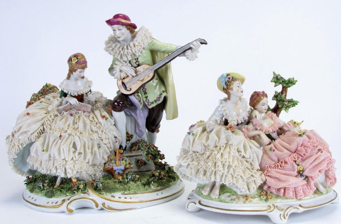 Two Unter Weiss Bach Porcelain Figural Groupings
