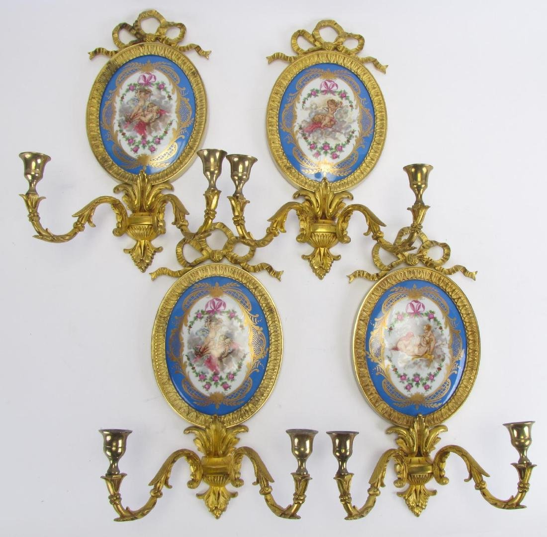 Group of Four Sevres France Plaque Sconces