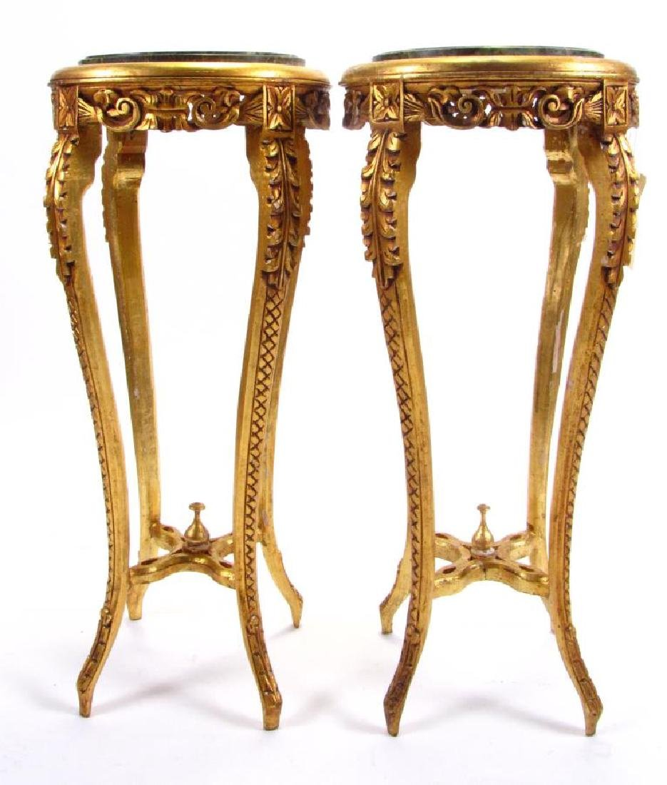 Pair of Gilded Wood Plant Stands