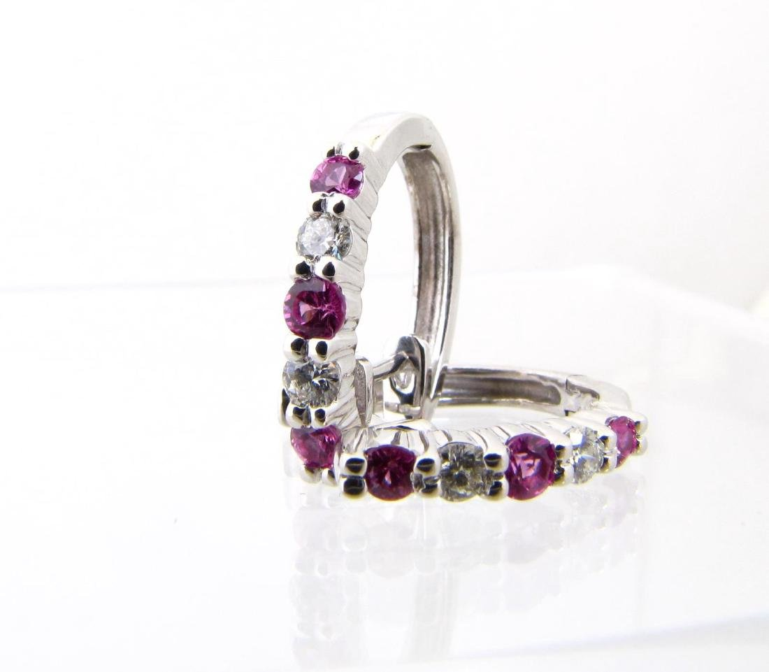 18K White Gold Pink Sapphire, Diamond Earrings