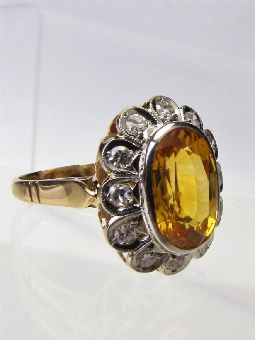 18K/Platinum Estate Yellow Sapphire, Diamond Ring