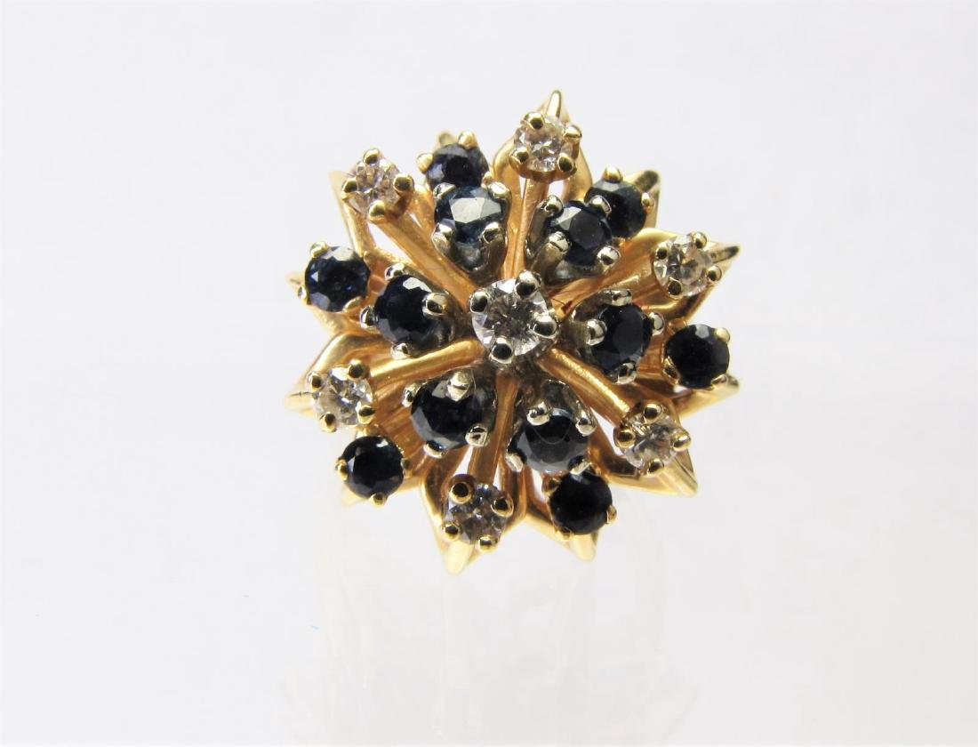 14K Yellow Gold Diamond and Sapphire Cluster Ring