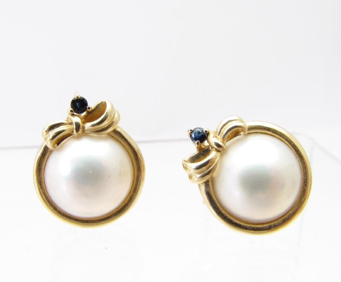 14K Yellow Gold Mabe Pearl, Sapphire Earrings