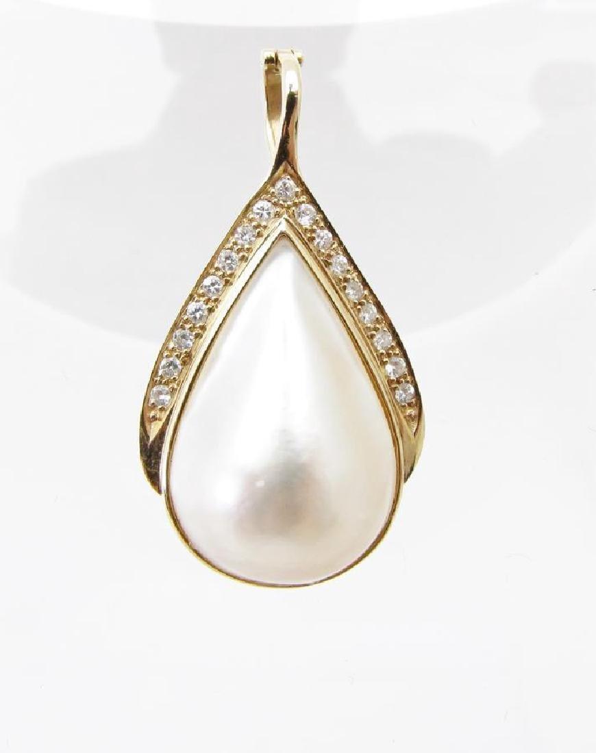 14K Yellow Gold Hinged Pearl and Diamond Pendant