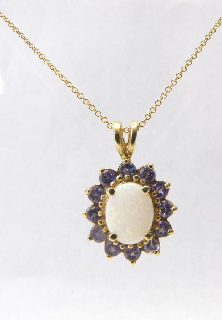 14K Yellow Gold Opal and Tanzanite Pendant, Chain