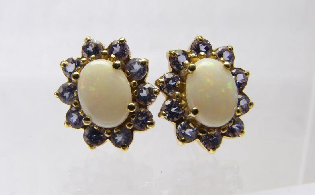 Pair of 14K Yellow Gold Opal and Tanzanite Earring