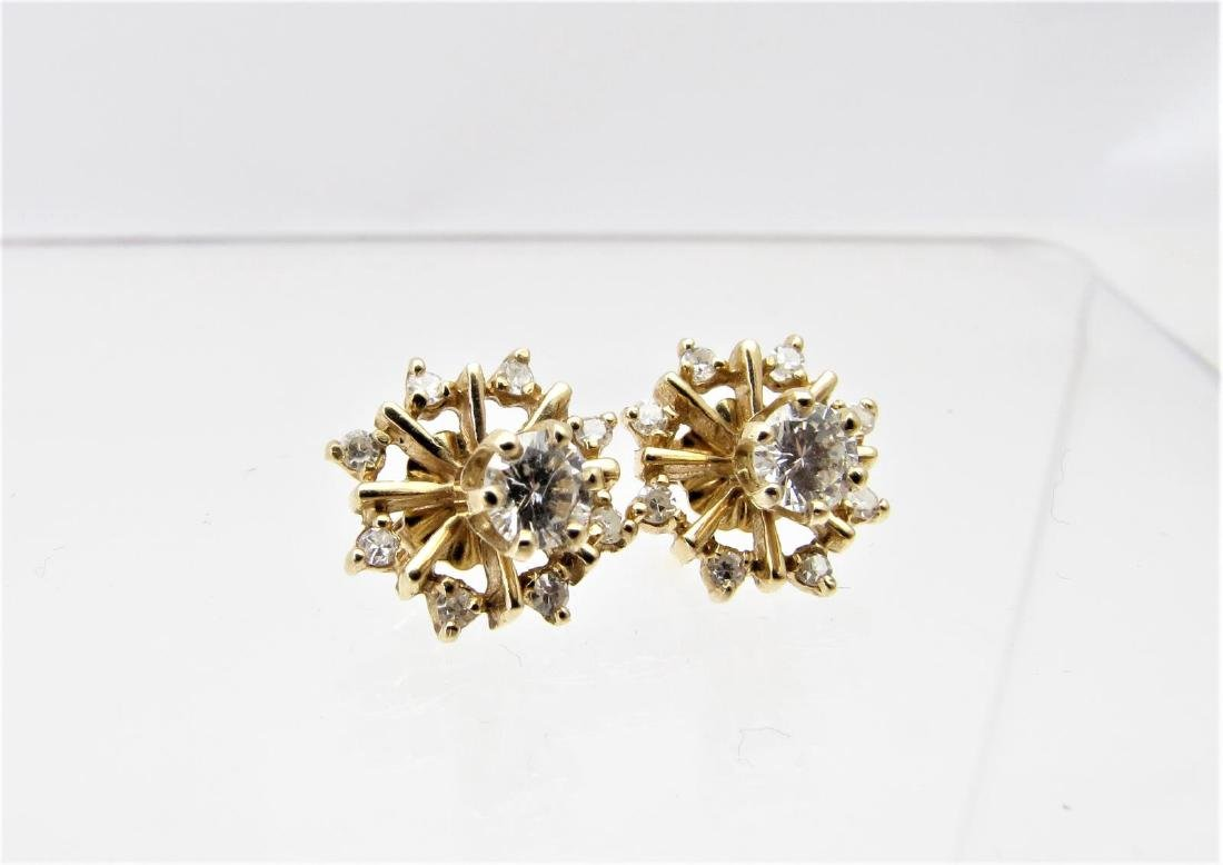 Pair of 14K Gold Diamond Earrings with Jackets