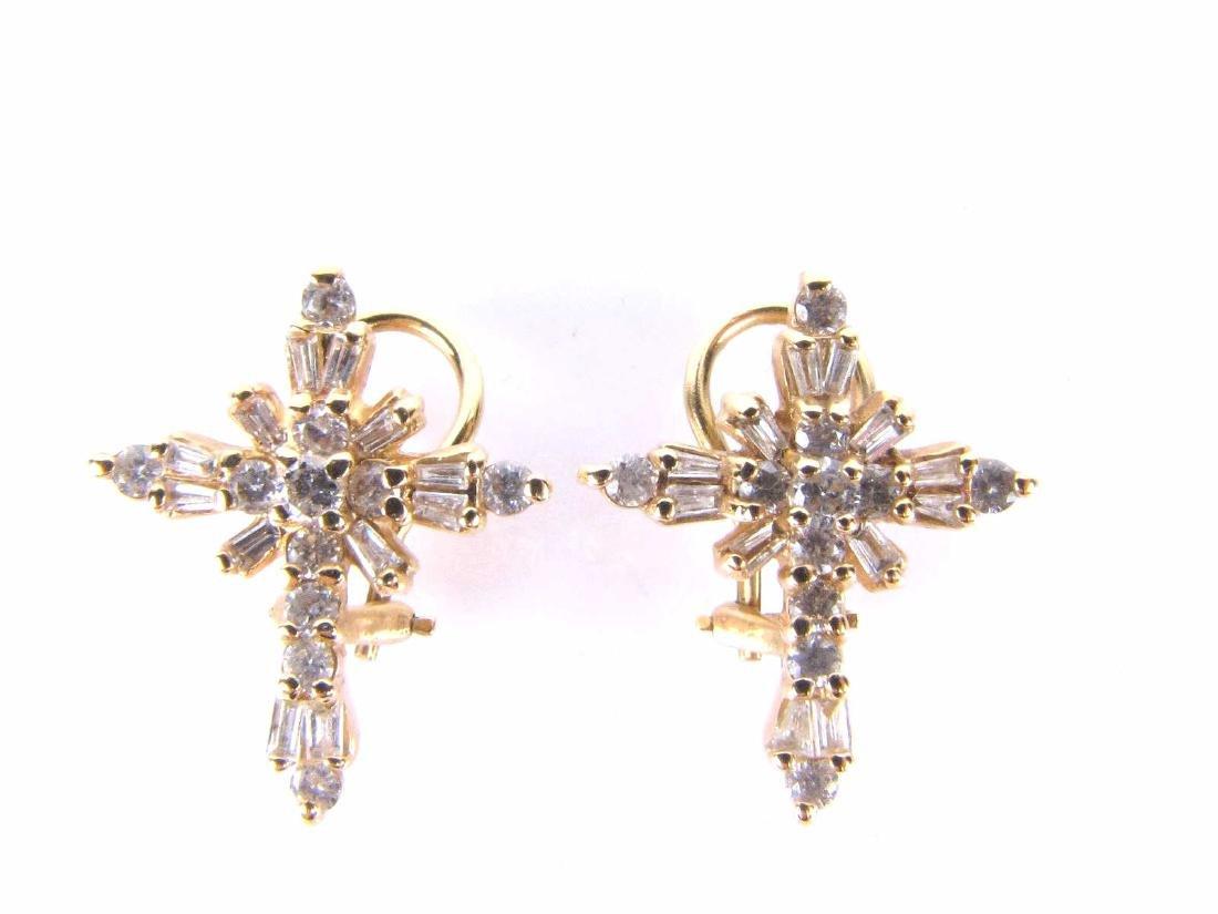 14K Yellow Gold Diamond Cross Earrings, 1CTW