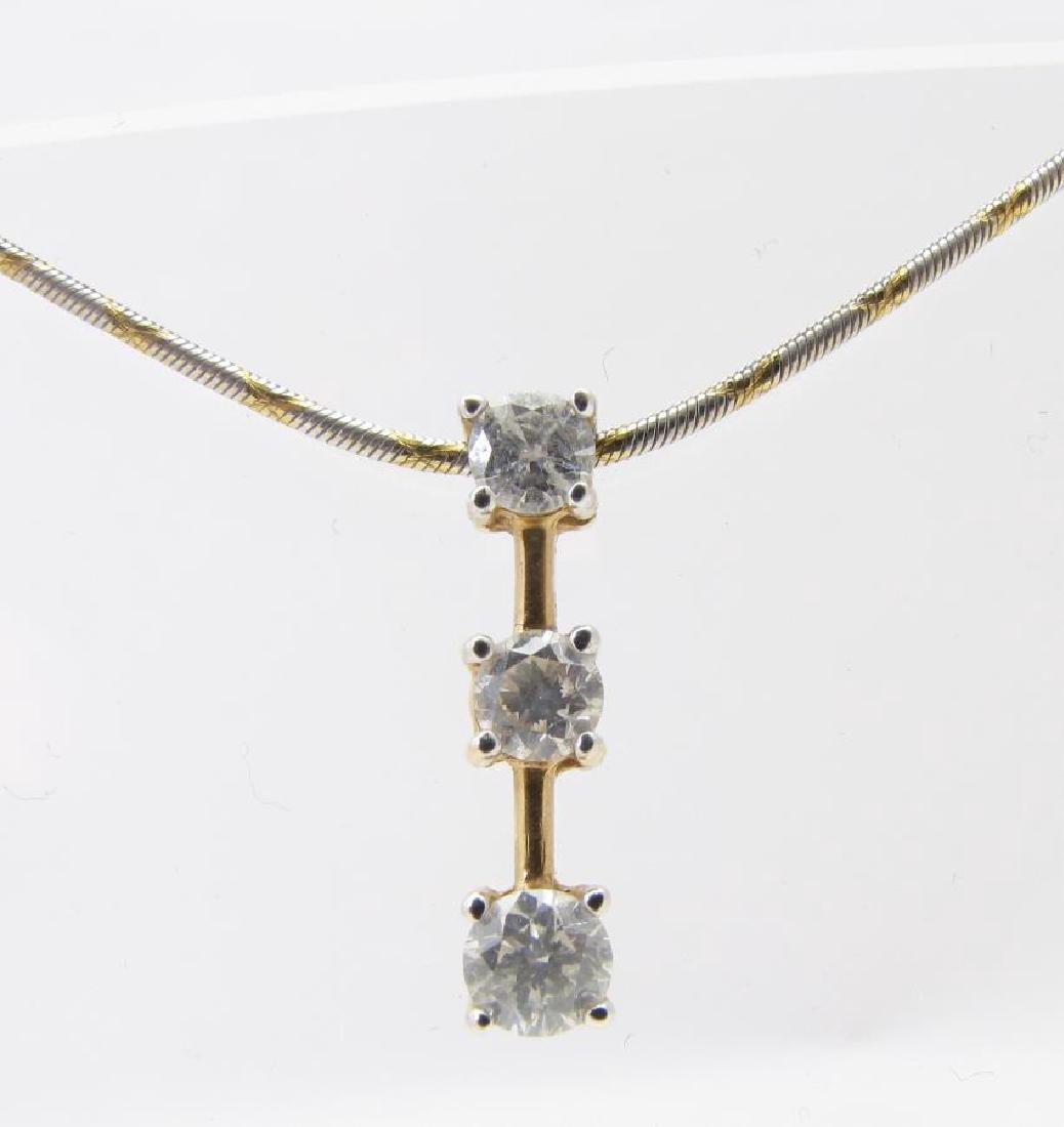 14K Yellow Gold 3-Diamond Pendant, Chain