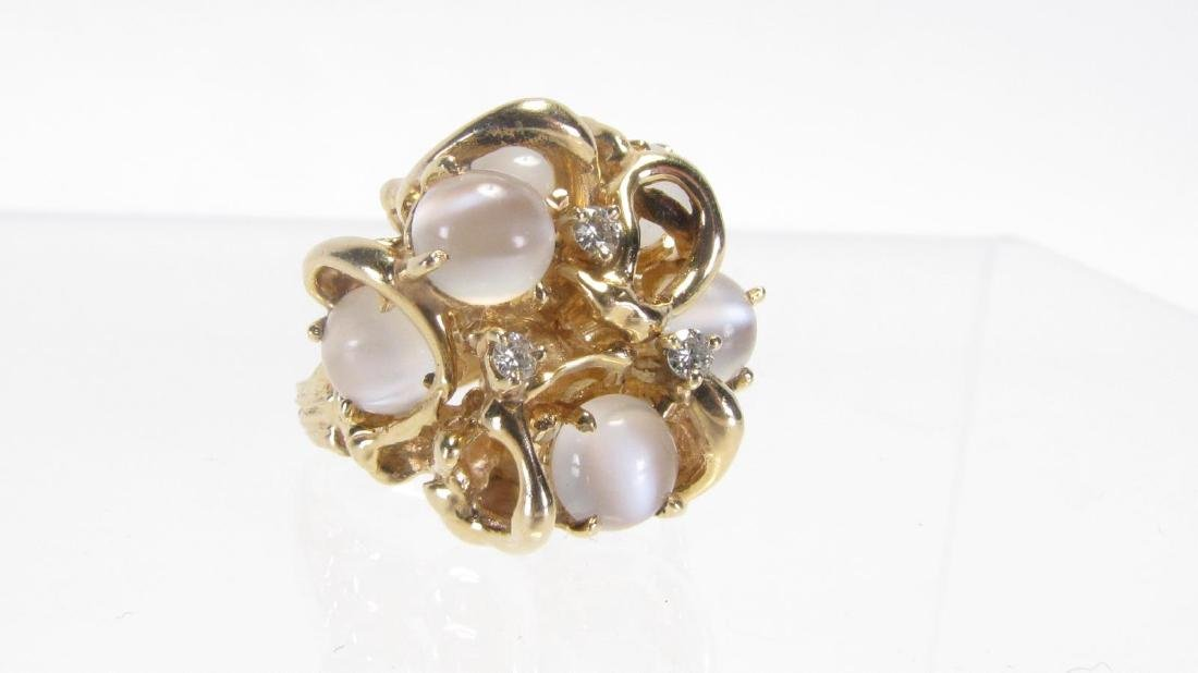 Heavy 14K Yellow Gold Diamond and Moonstone Ring