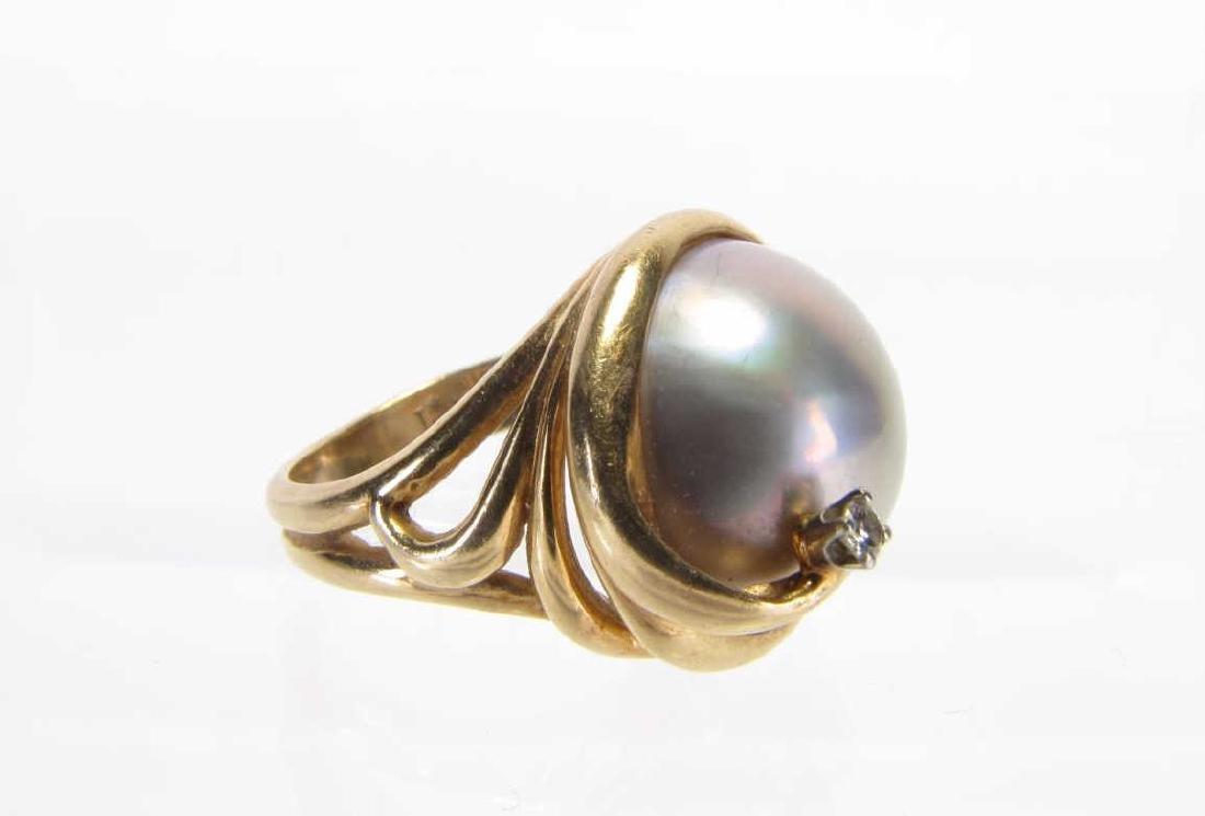 14K Yellow Gold Mabe Pearl, Diamond Ring