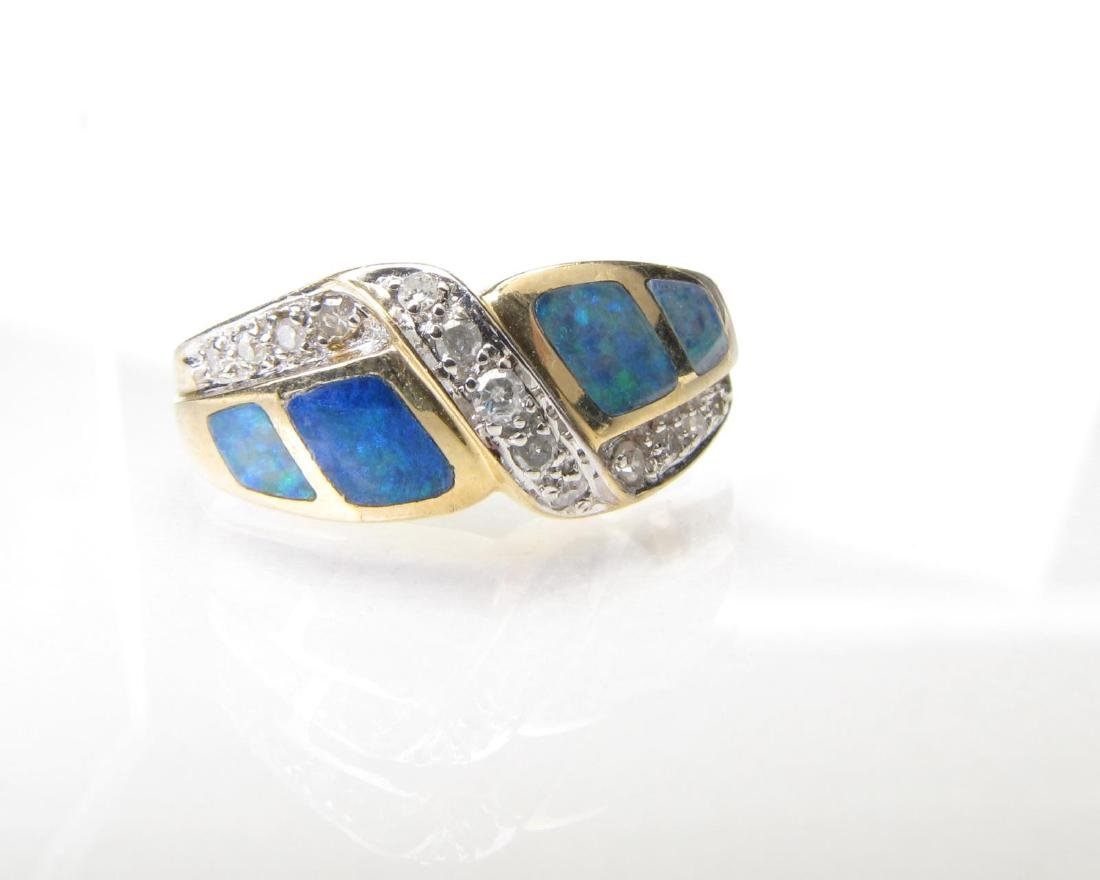 14K Yellow Gold Opal and Diamond Accent Ring