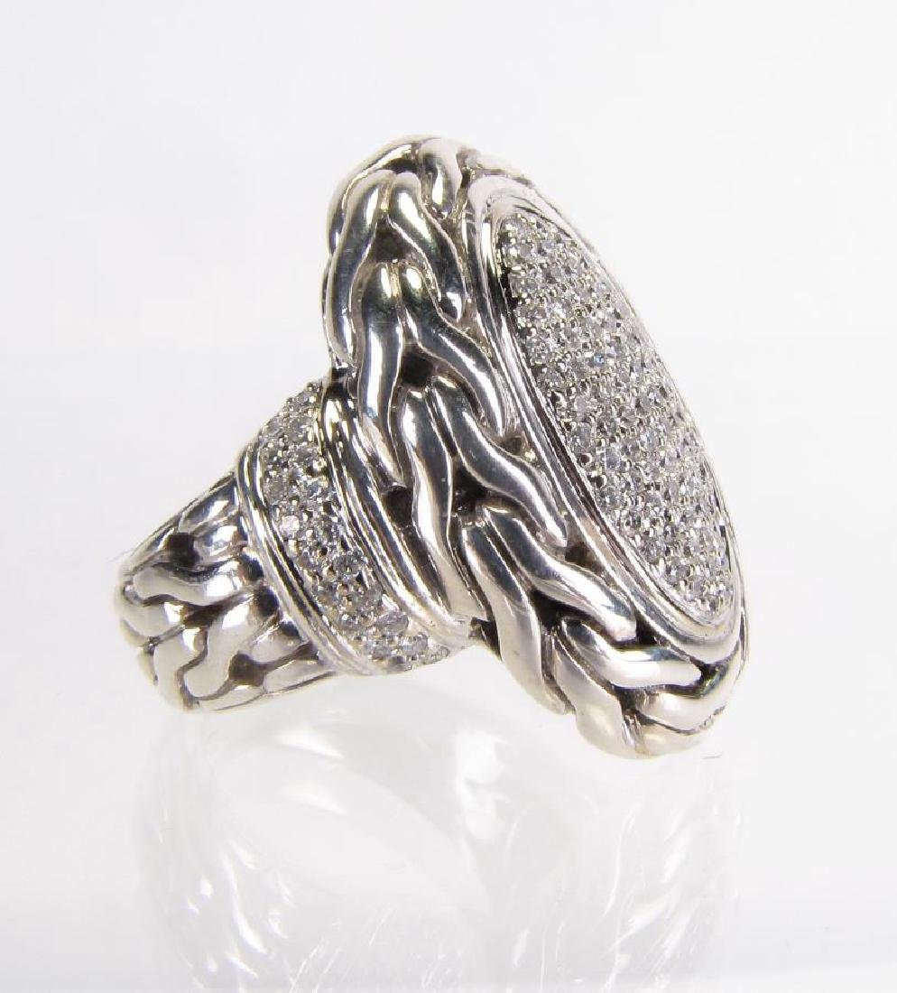 John Hardy Sterling Silver Chain Diamond Ring