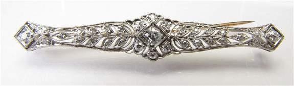 White Gold Antique Diamond Bar Pin
