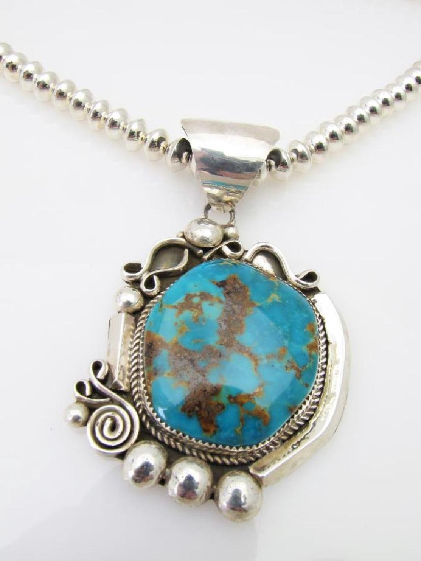 Silver Royston Turquoise Pendant, Beads, Nelson