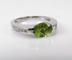 Peridot And Diamond Ring, 18k White Gold