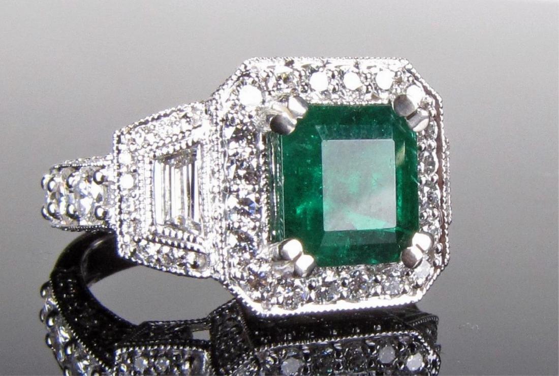 2CT+ Emerald and 2CT+ Diamond Ring, 18K WG