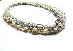 David Yurman Multi-Strand Pearl and Chain Necklace