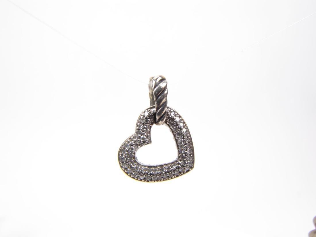 Sterling David Yurman Diamond Heart Pendant