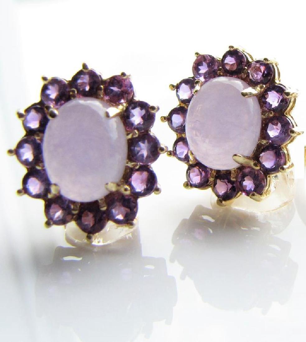 14K YG Lavender Jadeite Earrings with Amethyst