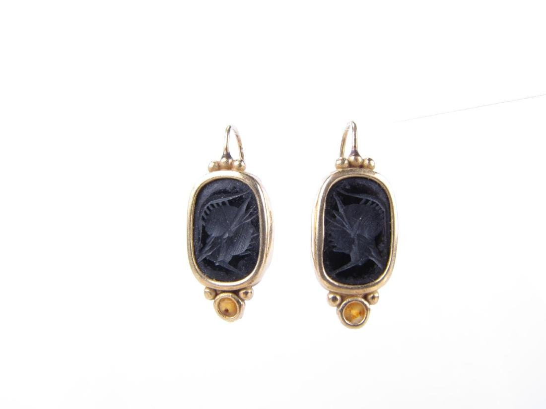 Pair of 14K Yellow Gold Onyx Intaglio Earrings