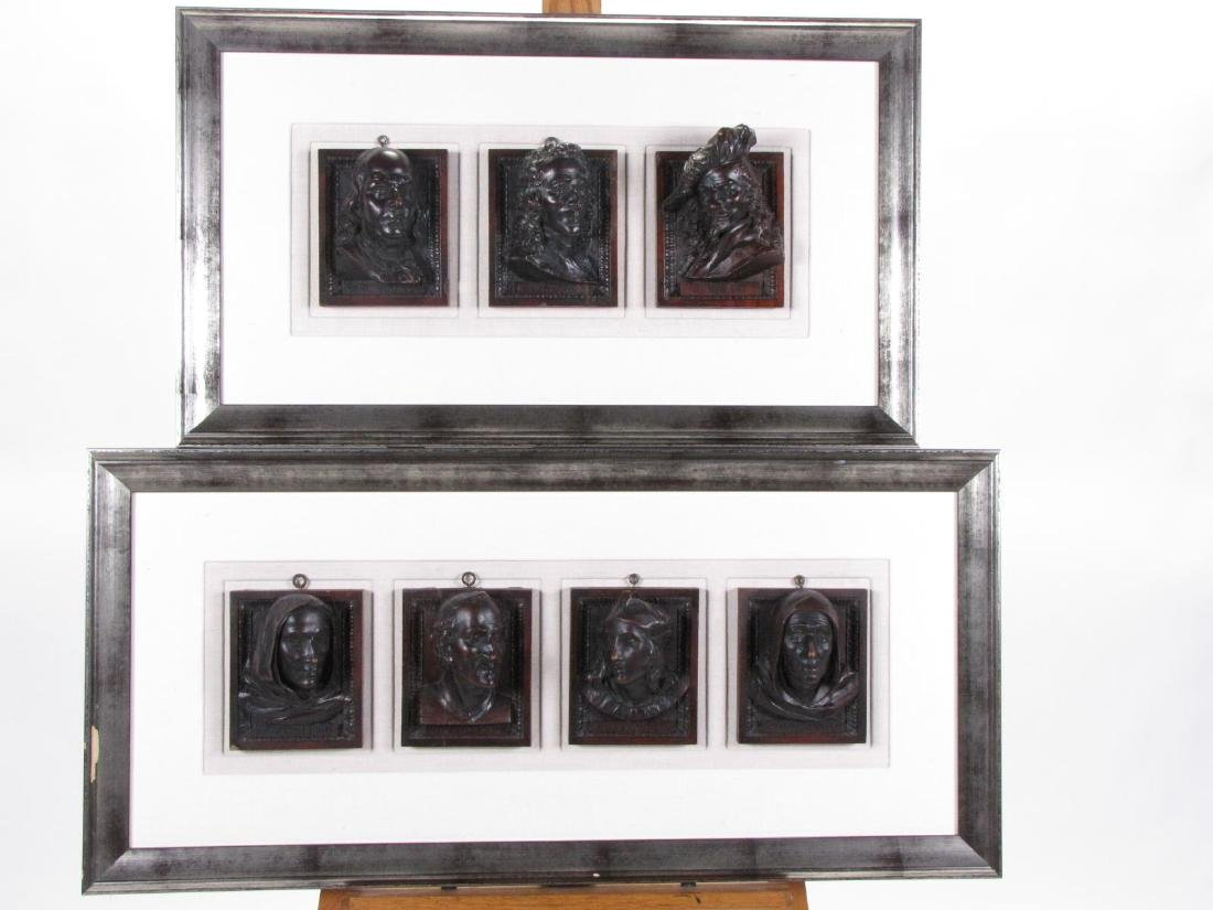 Two, Plaques Featuring Historic Portrait Carvings