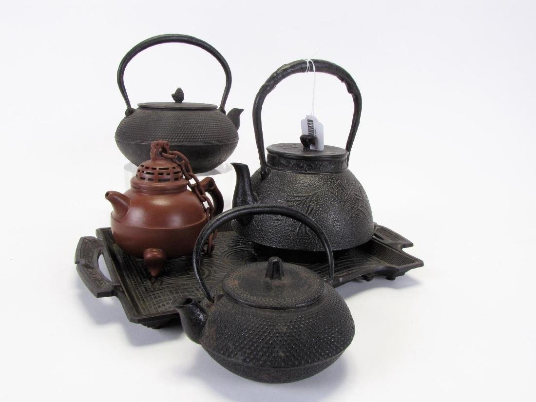 Group of Oriental Teapots and Tray