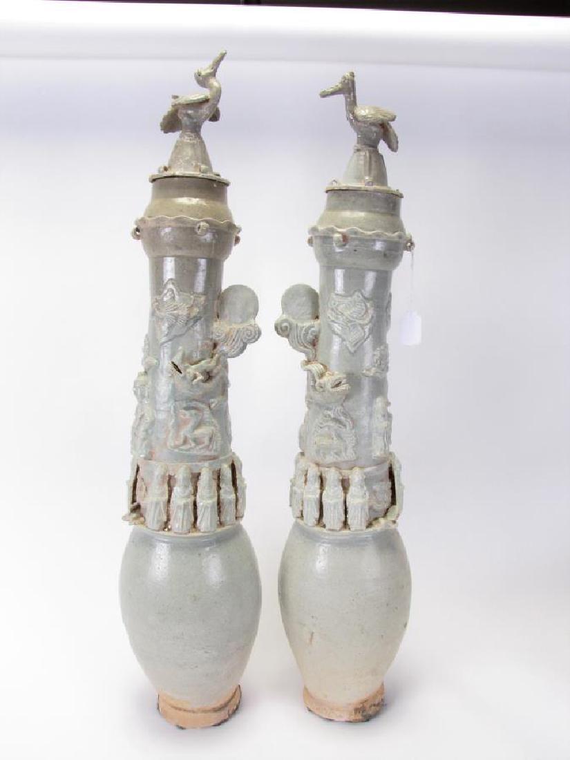 Pair of Antique Oriental Clay Jars