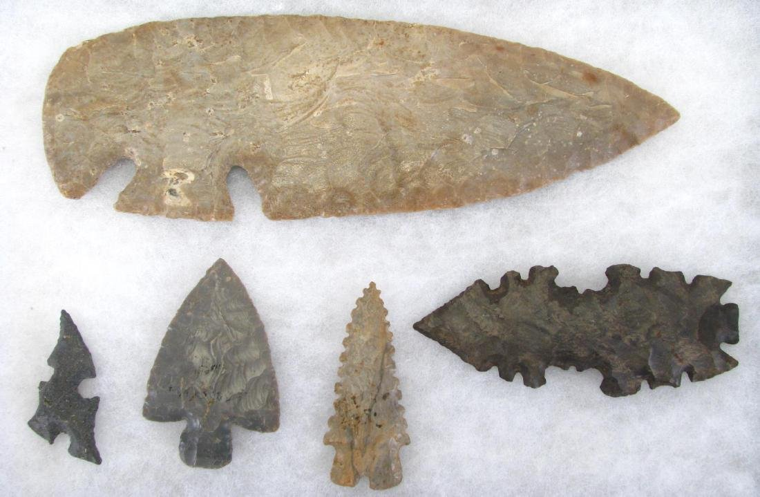 Native American Tang Knife and Points