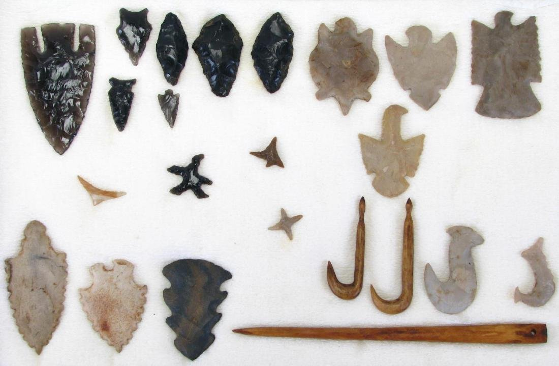 Collection of Native American Arrowheads, Tools