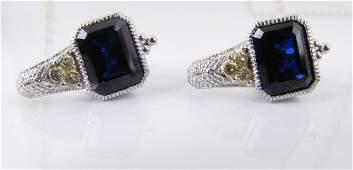 J. Ripka 18K/Sterling Blue Iolite, Diamond Earring